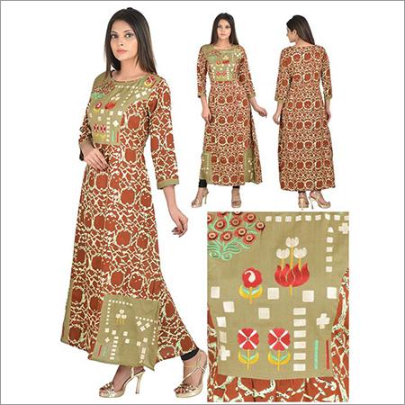 Priya's Designer Rayon A-Line Digital Print Kurta