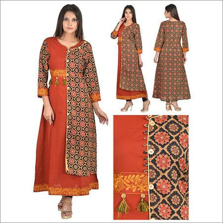 Priya's Designer Multicolor Double Layer Kurta