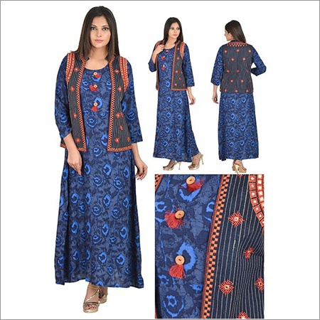 Priya's Designer Blue A-Line Kurta with jacket