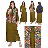 Designer Rayon jacket Kurta with Embroidery