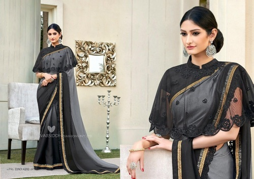 Embroidered Poncho Designer Sarees