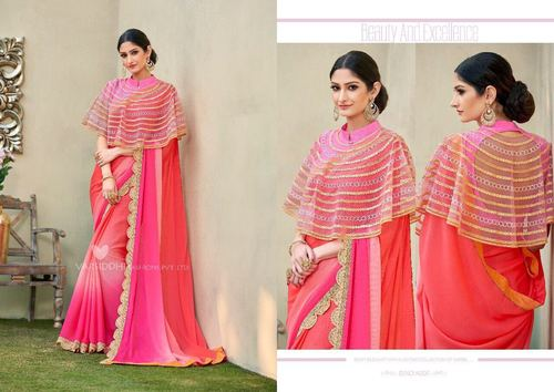 Shaded Colour Embroidered Saree Wholesaler