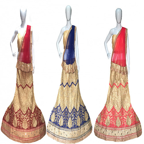 Cotton Silk, Net Bridal Lehenga Choli