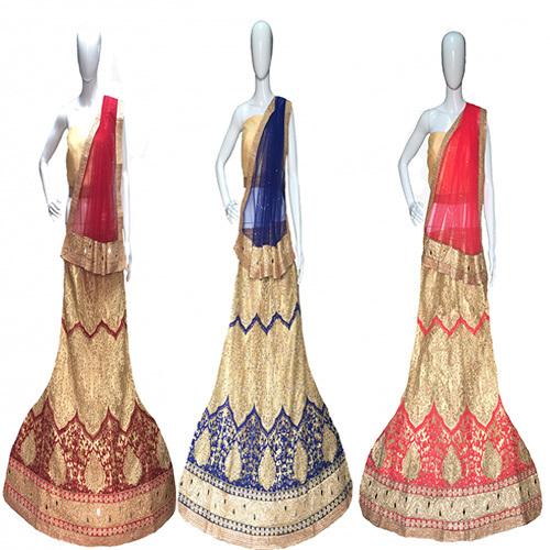Cotton Silk, Net Bridal Lehenga Choli