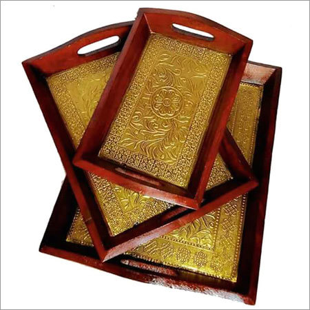 Brass Fitted Wooden Trays