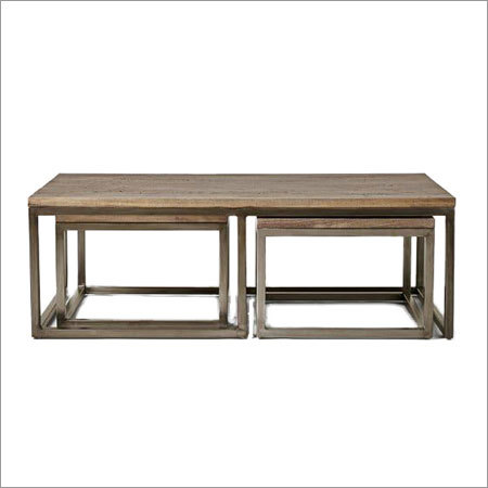 Industrial Coffee Table With Seats