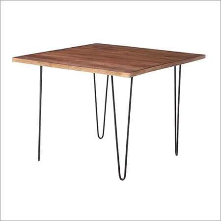 Iron Table with Wooden Top