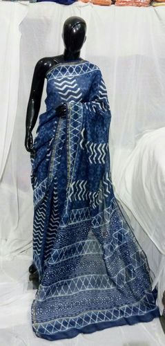 Block Printed Indigo Blue Saree