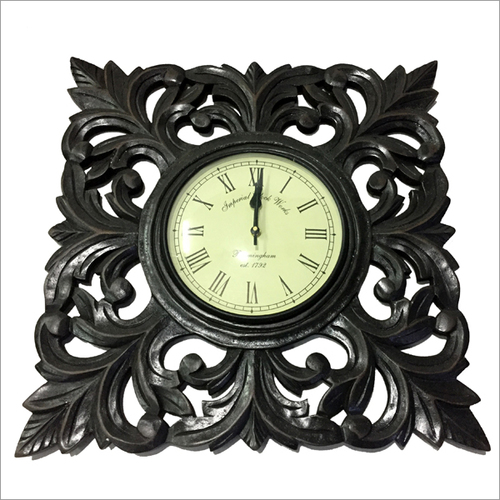Wooden Golden Wall Black Clock