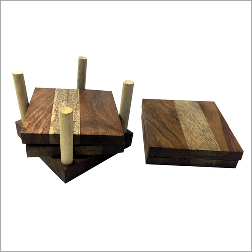 Wooden Tea Coaster With 4 plates