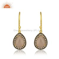 Cz Rose Chalcedony Gold Plated Silver Earrings For Womens