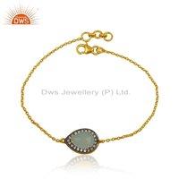 Cz Aqua Chalcedony Gemstone Silver Chain Bracelet Jewelry