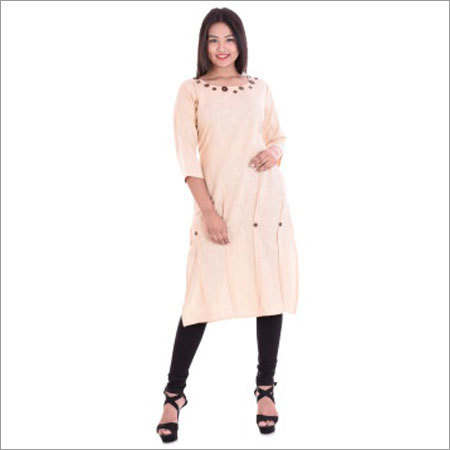 Ladies Round Neck 11 Button Kurtis
