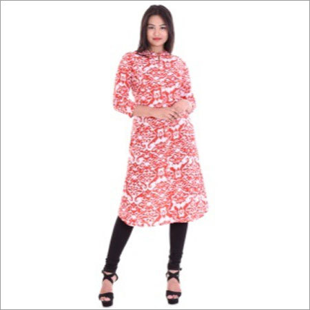 Ladies A-line With Round Neck Kurtis