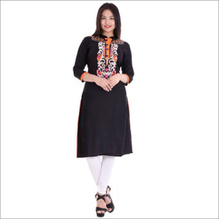 Ladies Straight Front Neck Embroidery Kurtis