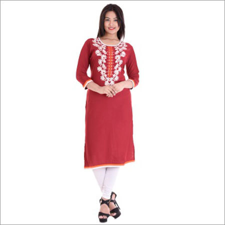 Ladies Straight Front White Embroidery Kurtis