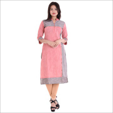 Ladies Straight 18 Button With Dual Colour Kurtis