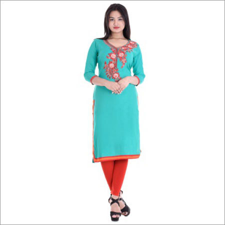 Ladies Round Neck With Embroidery Kurtis