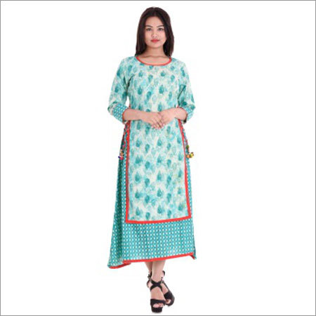 Ladies Double Layer Printed Kurtis