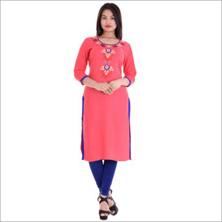 Ladies Round Neck Kurti With Embroidery