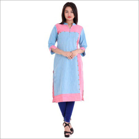 Ladies 18 Button With Dual Colour Kurtis