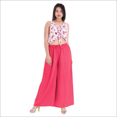 Ladies Pink Palazzo With Elastic