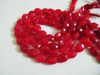 AAA Quality Natural Chalcedony Hot Pink Color Oval Faceted Beads