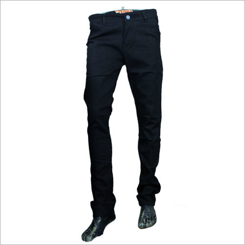 Mens Black Plain Jeans