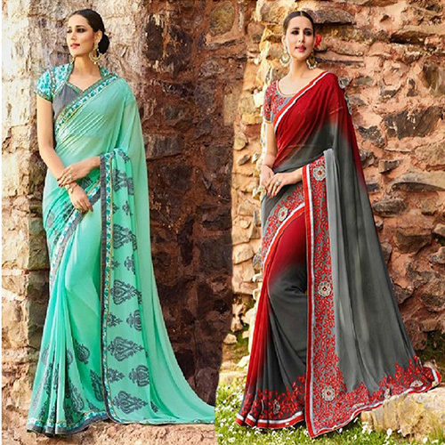 Wedding Georgette Resham Embroidery Designer Saree