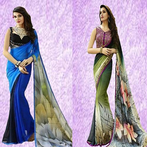 Pleasing Floral Print Saree