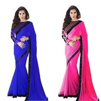 Fancy Georgette Lace Border Saree