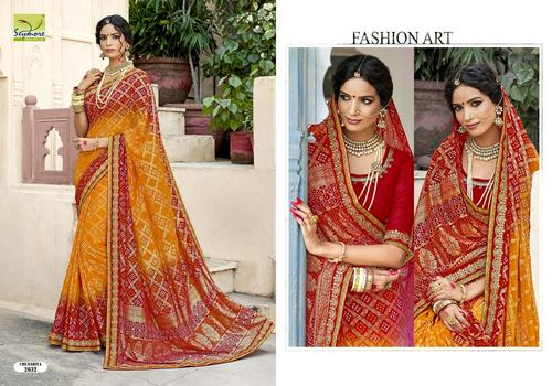 Georgette Bandhej Saree