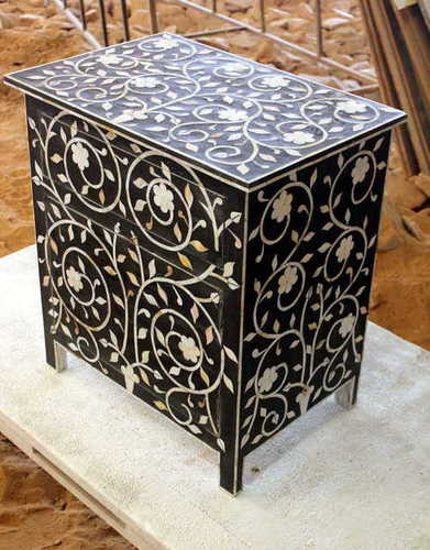 Black Floral Desgin MOP 2 Drawers Bedside Table