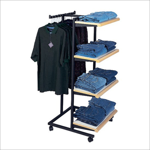 Two Way Garment Rack With Shelves