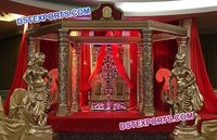 Indian Wedding Gold Carved Mandap Set