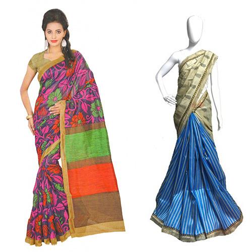 Half & Half Style Bhagalpuri Saree