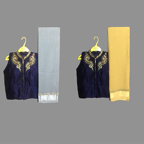 Grey Designer sareeWith Ready Made Blouse