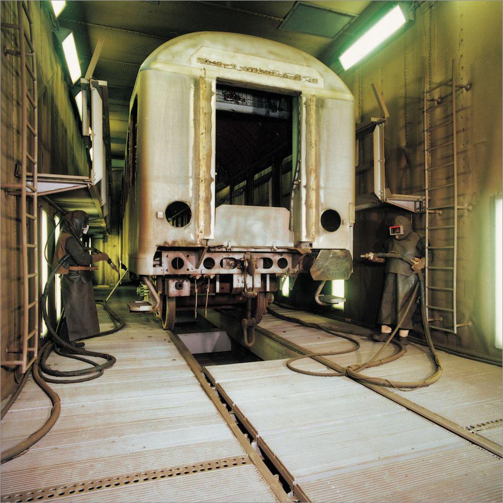Manual Blasting Of Coach In Blastroom