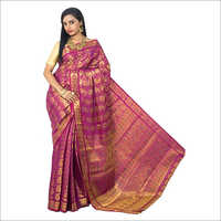 Kanchipuram Brocket Mango Meena Saree With Stones