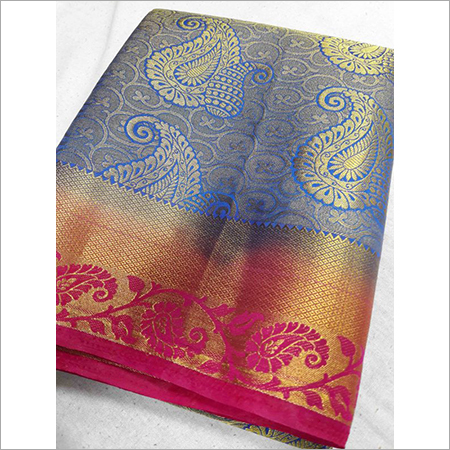 Kanchipuram Art Silk Jari Brocket Contrast Saree