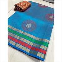 Tussar Round Design Embroderry Saree With Extra Jacquard Blouse