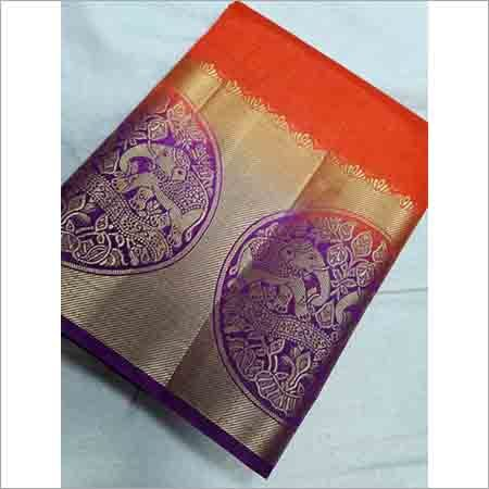Kanchipuram Rawsilk Elephant Border Contrast Saree Bahubali