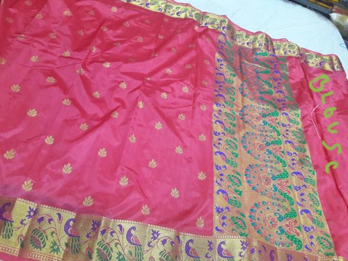 Peacock Border Semi Paithani Sarees