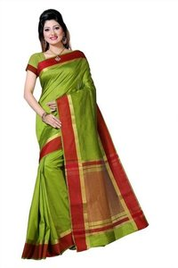 Raw Silk Sartin Border Sarees With Extra Jacquard Blouse