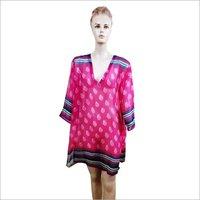 Pink Colour Printed Chiffon Kurti