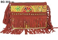 Vintage Banjara with Leather Fabric Clutch Bag
