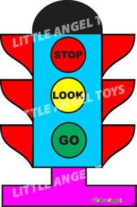 Wooden Cartoon Traffic Light Cutout
