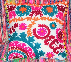 Suzani Hand Embroidered Cushion Cover