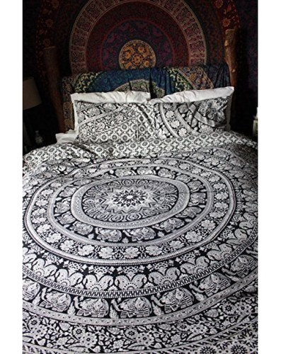 Quilted Twin Elephant Mandala Duvet Cover