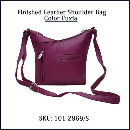 Finished Leather Shoulder Bag Color Fuxia